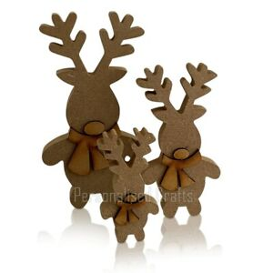 Free Standing Wooden MDF Xmas Standing Reindeer Shape Christmas Crafts 3 Sizes