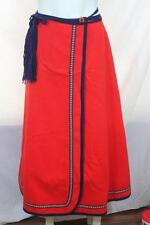 Vintage Danico red Scandanavian wool wrap skirt size medium M Oktoberfest (L10)