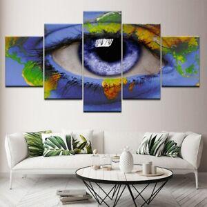 Beautiful Purple Eye World Map 5 pcs HD Modern Art Wall Home Decor Canvas Print