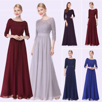 Mother of the Bride Lace Long Sleeve Floor Length Evening Dresses V Neck Dress