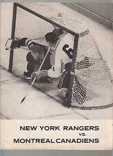 Montreal Canadians at NY Rangers November 3 1963 Game Program