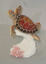 "Sea Turtle Figurine Brown Tropical Coral Reef New 4.75"" High Underwater Animals"