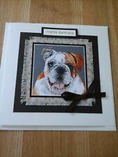 Bull dog Birthday card, handmade, fabric, animal, bull dog, dog