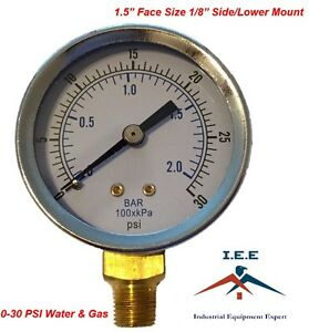 "1.5"" Dry Utility Pressure Gauge - Steel 1/8"" NPT Lower Mount, 0-30 PSI WOG"