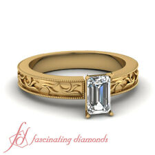 Antique Inspired Solitaire Yellow Gold Diamond Rings With 3/4 Carat Emerald Cut