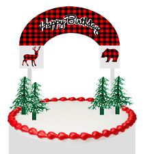 Lumberjack Buffallo Red Black Plaid Happy Birthday Cake Decoration Banner New