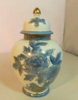 Japanese Ginger Jar with Lid Blue Floral Gold Trim Vintage Asian Marked