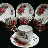 Signed Rosina English Roses Red Roses Eight Piece Set - 4 Teacups 4 Saucers