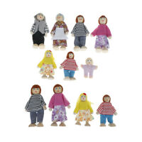 Dollhouse family dolls small wooden toy set figures dressed characters childr ME