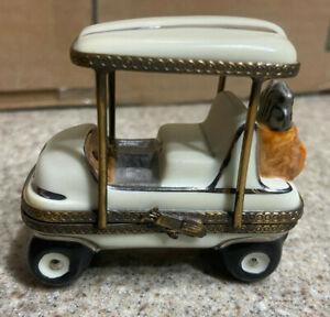 Limoges France Peint Main Golf Cart Themed Trinket Box No 1208 Signed Porcelain