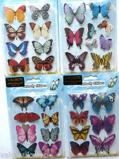FOUR SHEETS OF BUTTERFLY CRAFT STICKERS EMBELISHMENTS TOTAL OF 35 STICKERS