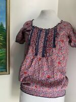 Dorothy Perkins Womens Top -Short Sleeve Ditsy Floral Print Cotton UK Size 10