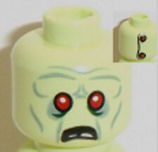 Lego Zeke Zombie Head x 1 Yellowish Green with 2 Buttons on Back for Minifig