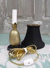 "Vintage 8"" Brass Pineapple Table Lamp Black Shade"