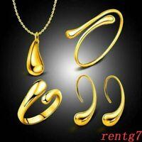 Fashion women wedding silver Bracelet necklace earring ring drop jewelry set