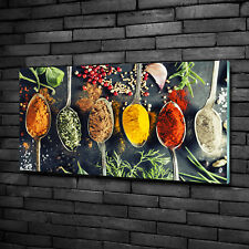 Glas-Bild Wandbilder Druck auf Glas 100x50 Deko Essen & Getränke Bunte Gewürze