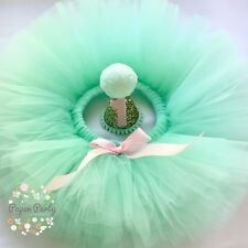 Mint & Pink Cake Smash/1st Birthday Tutu Outfit & Mini Party Hat