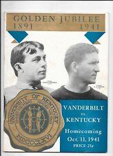 1941 Kentucky Wildcats v Vanderbilt Football Program Bear Bryant Assistant Coach