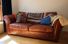 Laura Ashley leather sofa bed, brown, used