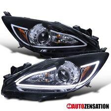 2010-2013 Mazda 3 Glossy Black Projector Headlights+LED DRL Light Bar