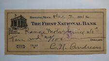 $10 1931 Hibbing Minnesota MN Cancelled Check! First National Bank