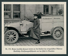 Foto Reichspost Posthalterei Dresden Auto Frau Kraftwagenführerin Sachsen 1918