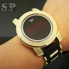 New Hip Hop Iced Out Digital Gold Plated Touch Screen Bullet Silicone Band Watch