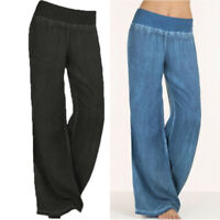 Women Ladies Wide Leg Pants Casual Loose Yoga Long Palazzo Jeans Lounge Trousers