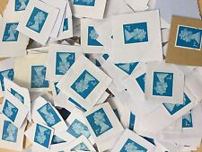 100 x UK Royal Mail Blue 2nd Class Unfranked Stamps On Paper - Face £55