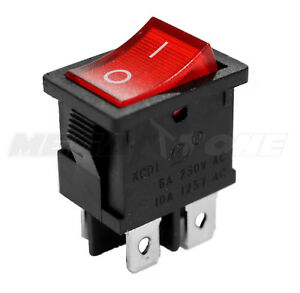 DPST KCD1 Mini Rocker Switch On-Off w/Red Lamp 6A/250VAC T85 - USA SELLER!!!