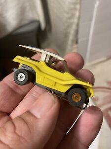 Vintage Afx Aurora Thunder Jet Yellow Striped Roof Dune Buggy HO Slot Car # 4