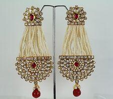New Indian Ethnic Handmade Polki Kundan Wedding Fashion Jewelry Dangling Earring