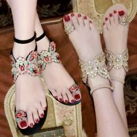 Bohemia Womens Ring Toe Rhinestones Flats Sandals Bling Bling Ankle Strap  Shoes