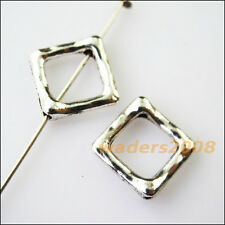 12 New Square Circle Frame Charms Tibetan Silver Tone Spacer Beads 12.5mm