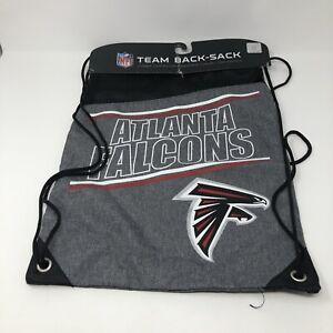 Team Back Sack NFL Atlanta Falcons Drawstring Backpack Gray Spellout