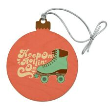 Roller Skates Derby Keep On Rolling Skating Wood Christmas Tree Holiday Ornament
