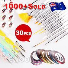 DIY Nail Art Painting Drawing Design Polish Brushes Dotting Pen Tool Set Kit AU
