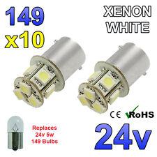 10 x White 24v LED BA15s 149 R5W 8 SMD Number Plate Interior Bulbs HGV Truck