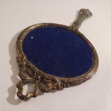 Miroir glace à main étain mercure vintage Renaissance art déco PN France N2818
