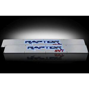 RECON 264421FD 2009-2014 Ford Raptor Aluminum-Blue Emblems Illuminated door sill