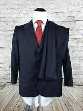 Oxxford Clothes Two Piece Suit Size 42R 36x24 Pant Navy Blue Striped 3 Button