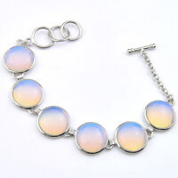 Classical Round Cut Rainbow Fire Moonstone Gemstone SIlver Charming Bracelets