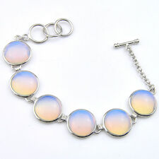 Classical Round Cut Rainbow Fire Moonstone Gemstone SIlver Charming Bracelets