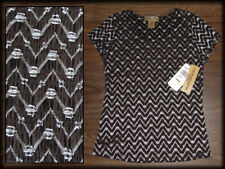 NWT Notations Womens Silver Threads Brown STRETCH BLOUSE Petite PS Top Scoop USA