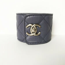 CHANEL GRAY LILAC SILVER CC LOGO TURN LOCK QUILTED LEATHER CUFF BRACELET 12C