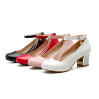 Women Mary Jane Round Toe Ankle Strap Shoes Pump Mid Chunky Heels Buckle Lolita