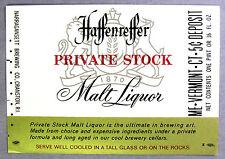 Narragansett Brewing HAFFENREFFER PRIVATE STOCK MALT LIQUOR label RI 16oz