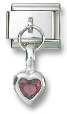 Italian Charm 925 Sterling Birthstone Heart Dangle CZ February Stainless Steel