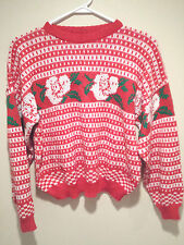 Vintage Tacky Ugly Christmas Sweater - Medium Red Christmas Roses Party Winner !