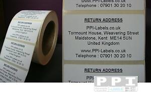 1000 Personalised Return Address Sticky Labels Stickers On Roll 70x40 RA-03-ROLL
